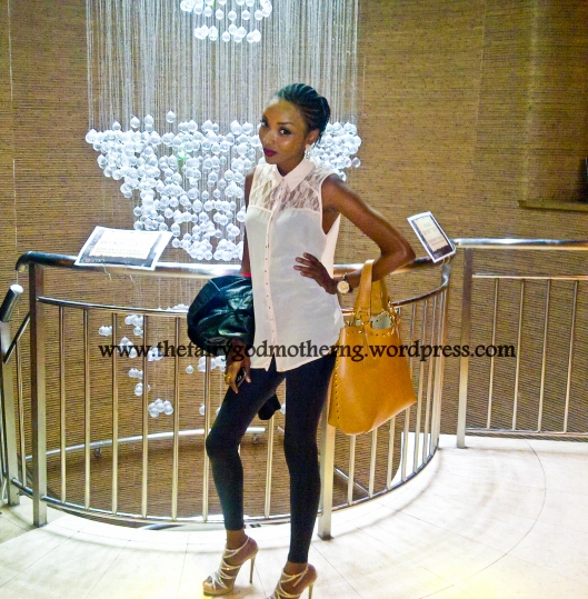 Top - Atmosphere, Leggings - River Island, Handbag - Russell and Bromley, Shoes - Aldo
